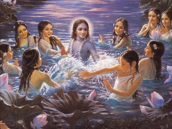 Lord Krishna teasing and frolicking with the gopis