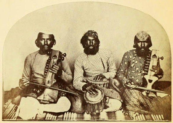 Mirasi minstrels. Moradabad. 1870