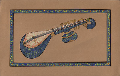 Indian-Miniature-Painting-Veena-Classical-Musical-Instrument-Rajathan-Ethnic-Art-200848776782